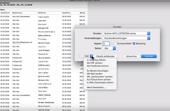 """Beispielansicht """"Report"""" mit Druckmenu und PDF Erstellung"""