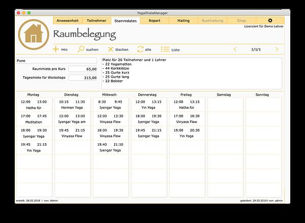 """Ansicht """"Raumbelegung"""" Bildschirmeingabemaske zum erfassen der Unterrichtsräume, erstellt automatisch einen Raumbelegungsplan"""