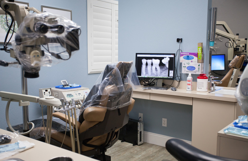 endodontic microscope and chair