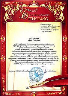 Благодарственное письмо Митасовой Л.Ю. (