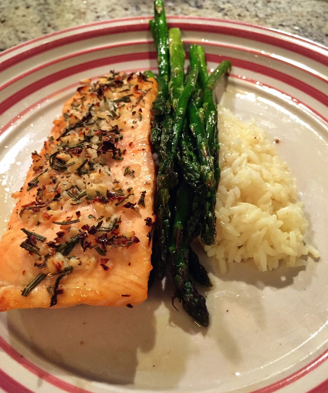 Herb and Garlic Salmon with Roasted Asparagus and Savory Rice