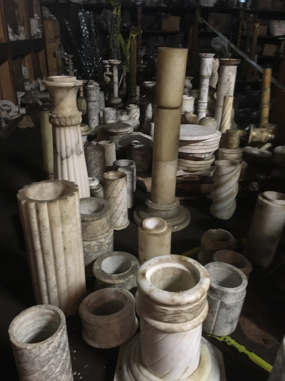 Italian Marble table tops, lamp bases, pots, and more.
