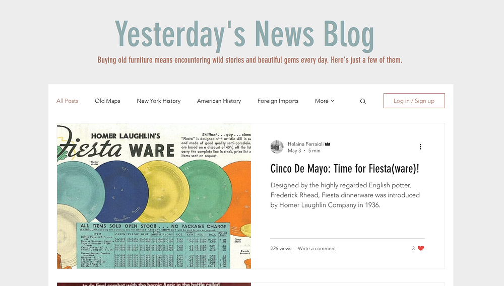 Yesterday's News Blog –  Landing Page