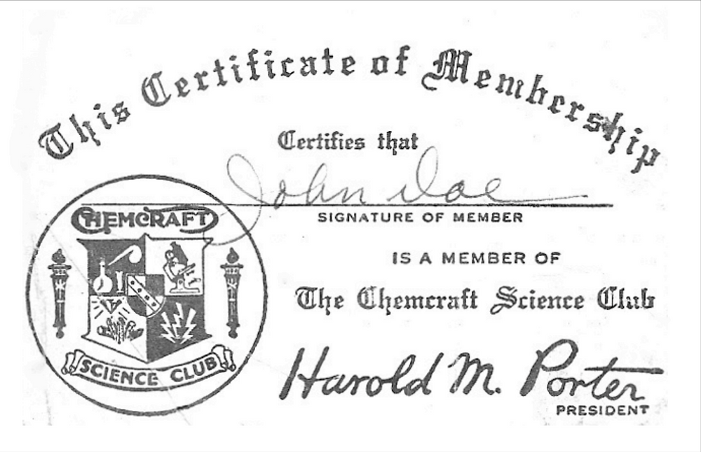The Porter Chemcraft Science Club Certificate