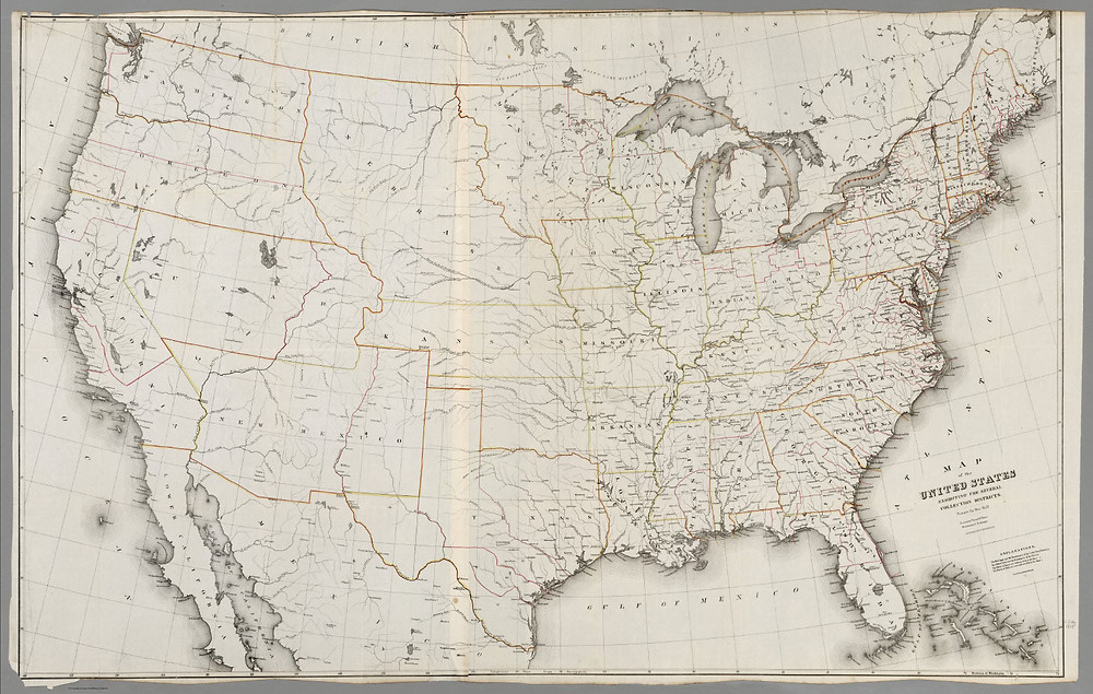 """A copy of David H. Burr's """"Map of the United States"""" (1854)"""