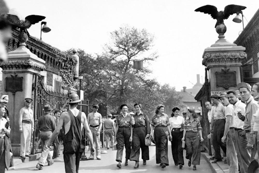 A photo of the entrance circa World War II. Photo from the Brooklyn Navy Yard via amNY