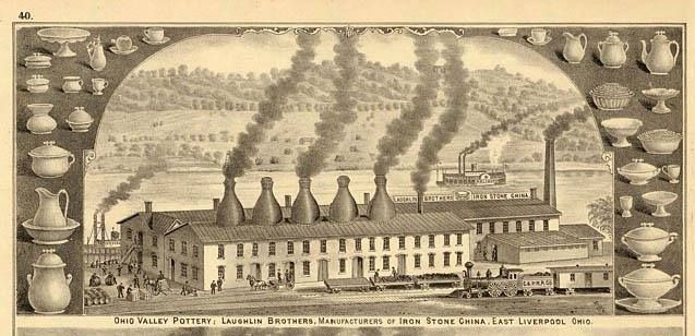 Illustration of the Laughlin Brother's Factory in East Liverpool, OH