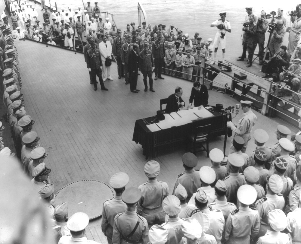 Japan Surrenders to the U.S on the USS Missouri
