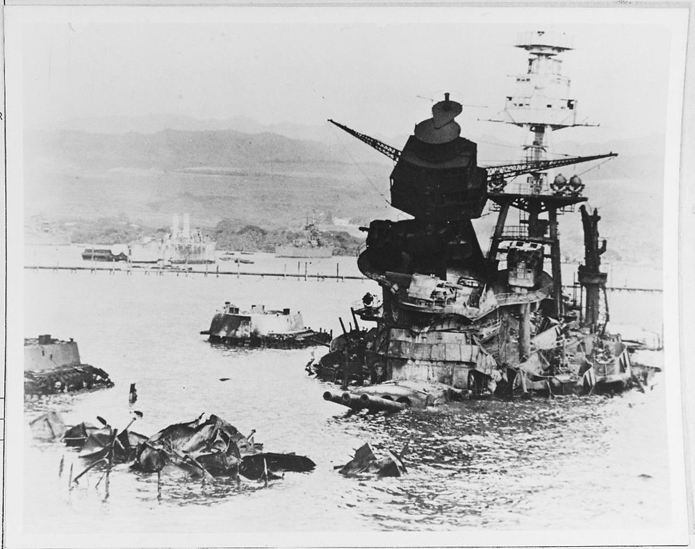 Rarely seen photo of USS Arizona Sunk at Pearl Harbor