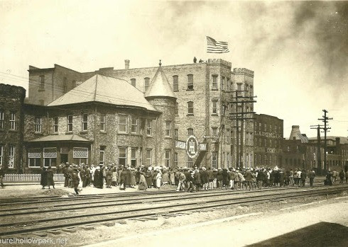 Flag raising ceremony at the Homer Laughlin plants in East Liverpool, Ohio.