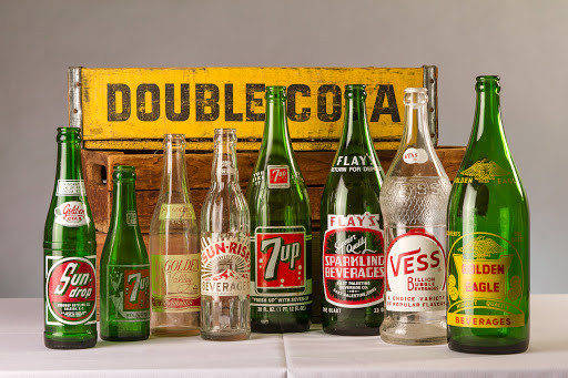 Assortment of vintage soda bottles