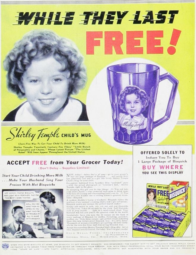 Shirley Temple Depression Glass Bisquick Ad