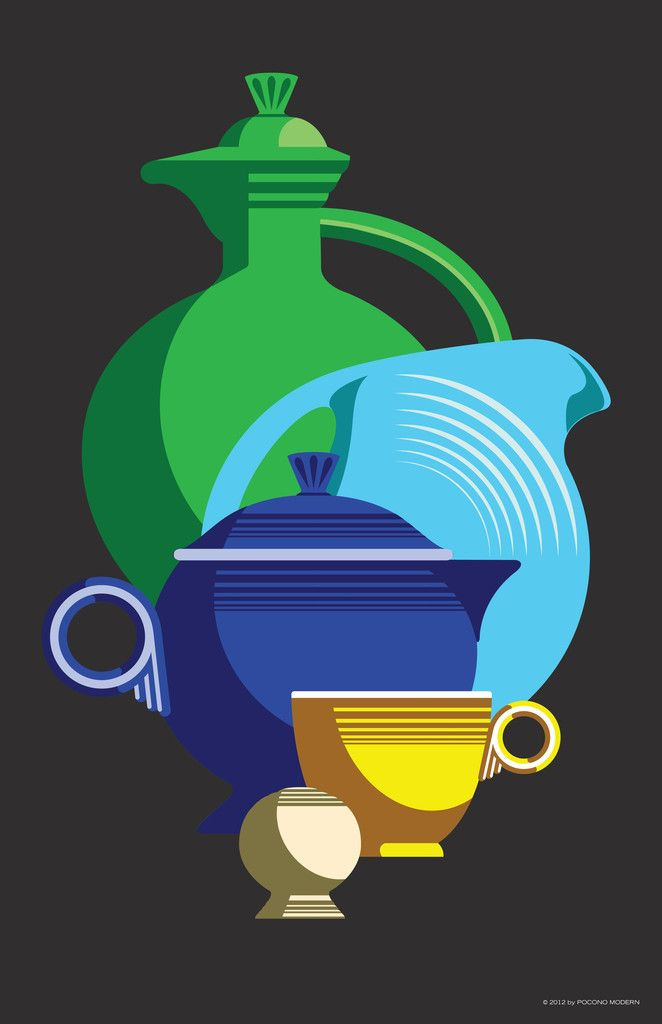 Graphic print highlighting Fiestaware's simple design