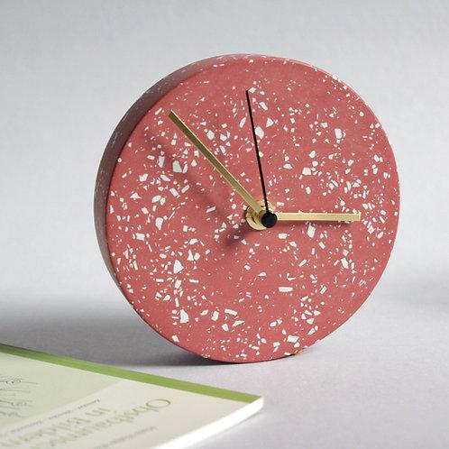 MINI Wanduhr mit Uhrzeiger aus Messing / rot + türkis / 13cm / SCHÖNHEITSFEHLER