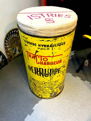 tabouret bar ancien bidon liquide hydraulique vintage