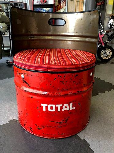 Siège Fauteuil baril bidon huile 200L TOTAL Vintage