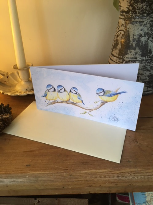 Little Blue Tits greetings card