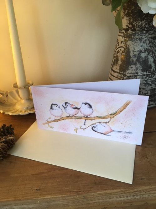 Little Long Tailed Tits greetings card