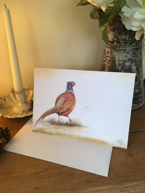 Cock Pheasant greetings card