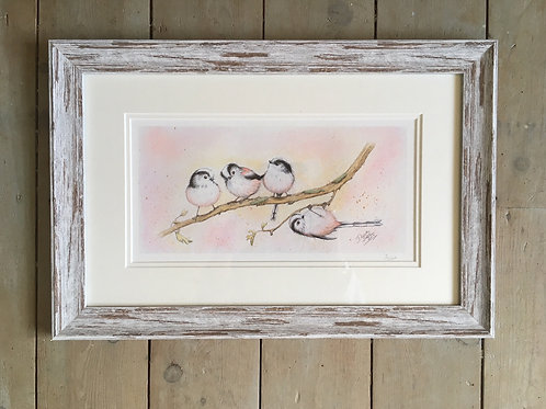 Little Long-tailed Tits framed limited edition print