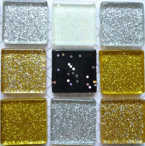 Black, silver, white and gold 20mm glass glitter tiles