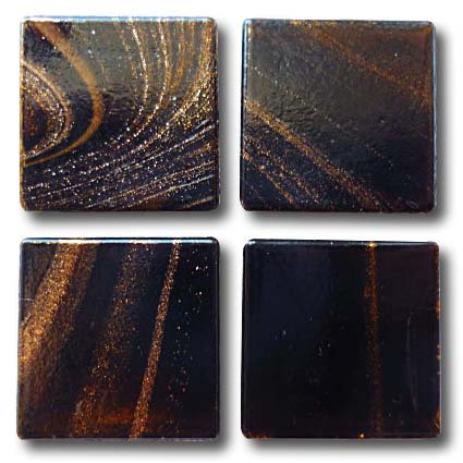 607 Gold vein dark chocolate 20mm glass tile