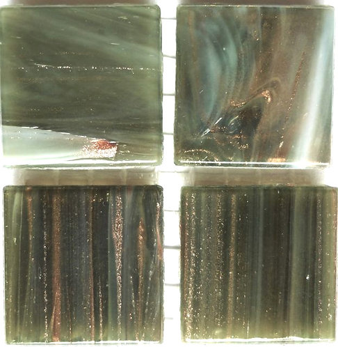 597a Gold vein grey-green 20mm glass tile