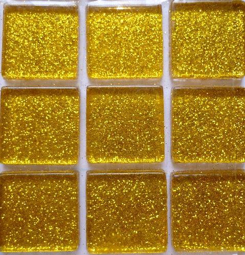 Dark gold 20mm glass glitter tile
