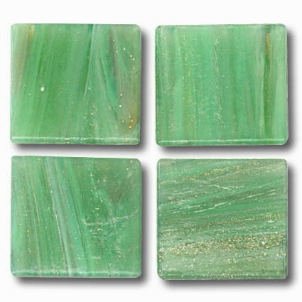 587 Gold vein spring green 20mm glass mosaic tile