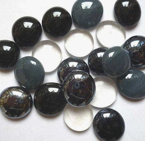 Glass gems - Black, grey & clear