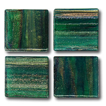 591 Gold vein forest green 20mm glass mosaic tile