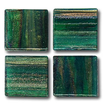 591 Gold vein forest green 20mm glass mosaic tile