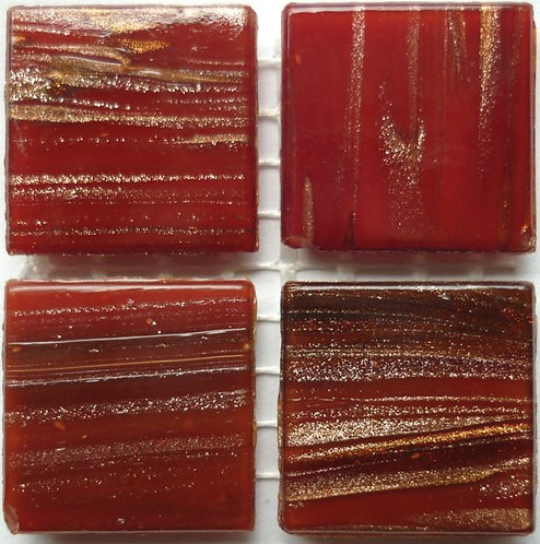 608a Gold vein Autumn red 20mm glass tile