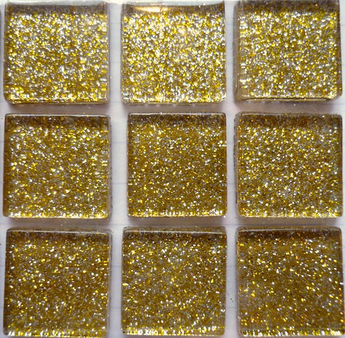 Gold 20mm glass glitter tile