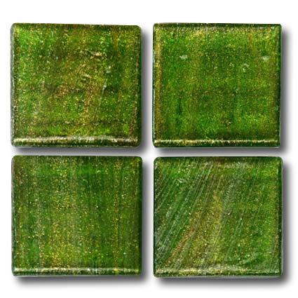 588 Gold vein green 20mm glass mosaic tile