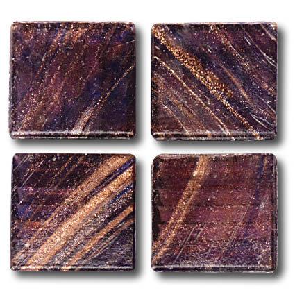 603 Gold vein indigo-brown 20mm glass mosaic tile