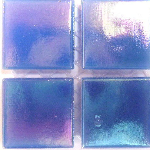 581a Iridescent mid-blue 20mm glass mosaic tile