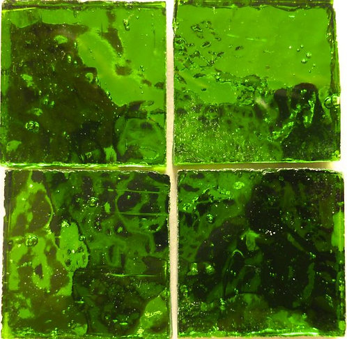 Mid Green Wavy mirror 20mm glass tile