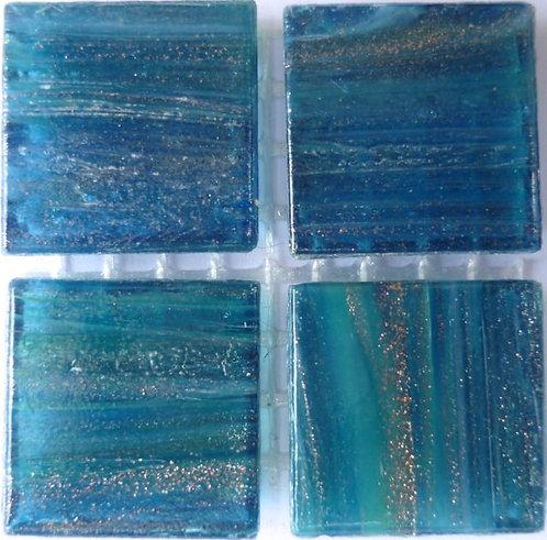 595a Gold vein dark aquamarine 20mm glass tile