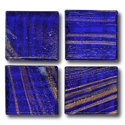 596 Gold vein royal blue 20mm glass mosaic tile