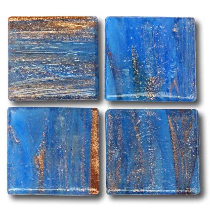593 Gold vein blue 20mm glass mosaic tile