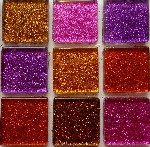 Red, purple, brown & pink 20mm glass glitter tiles
