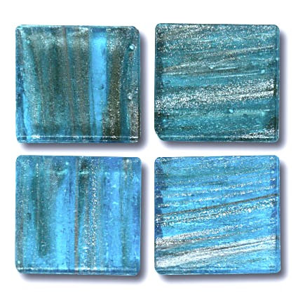 594 Gold vein aquamarine 20mm glass mosaic tile