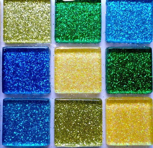 Blue, green & yellow 20mm glass glitter tiles