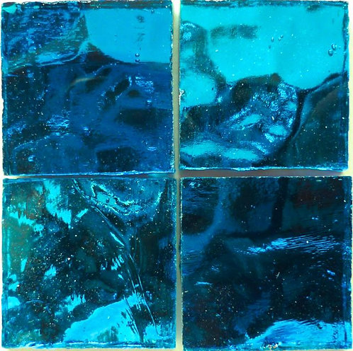 Tropical Blue Wavy mirror 20mm glass tile