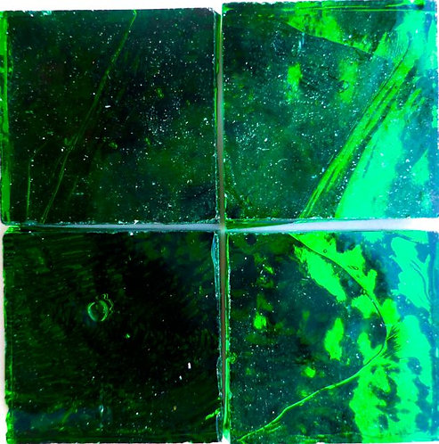 Dark Green Wavy mirror 20mm glass tile