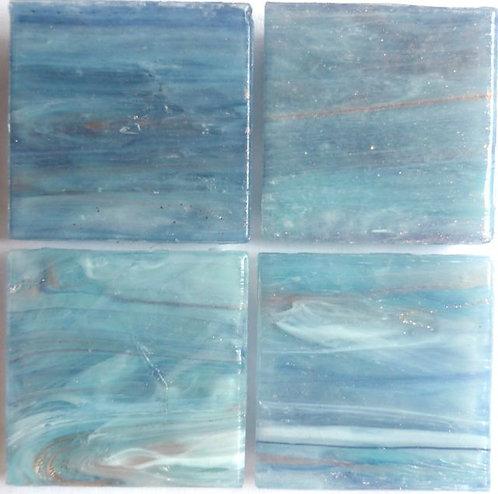 593a Gold vein river blue 20mm glass mosaic tile