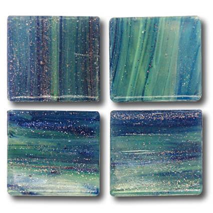 590 Gold vein blue-green 20mm glass mosaic tile