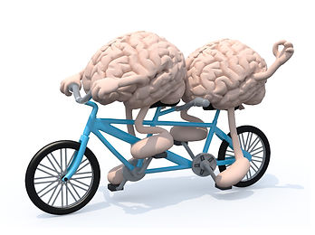2 brains riding a bike together