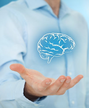 man with a brain hovering in his hand